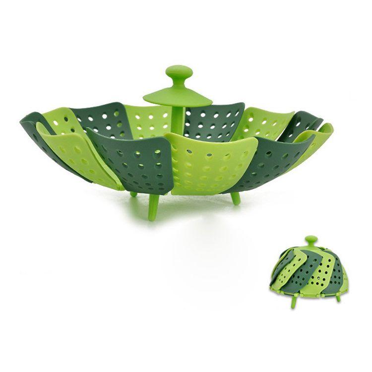 Foldable Filter Fruit Basket & Heat Resistant Food Steamer for Kitchen