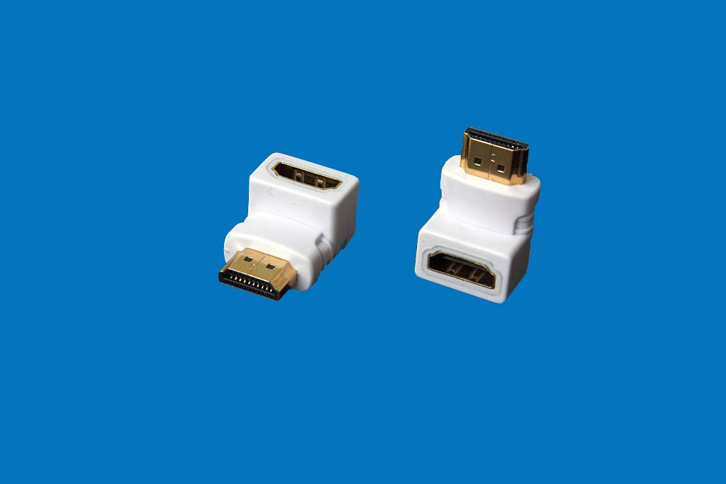 HDMI AF TO AM Right Angle white Adapter