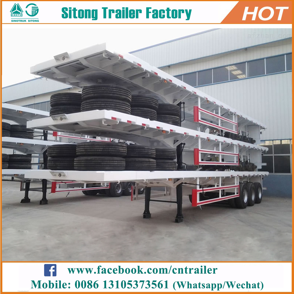 Factory 3 axles flatbed semi trailer 20ft 40ft container flatbed trailer for sale
