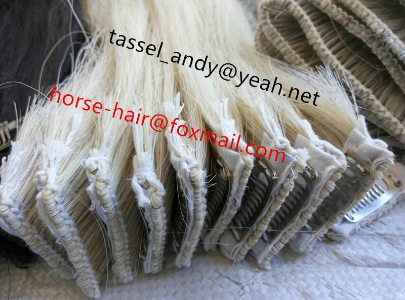 natural color horse hair clip-in hair extension