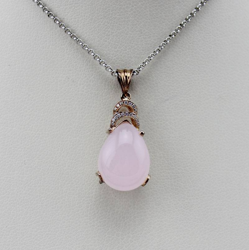 18k Rose Gold Plated with Rose Quartz and Rhinestone Pendant (PSJ0425)