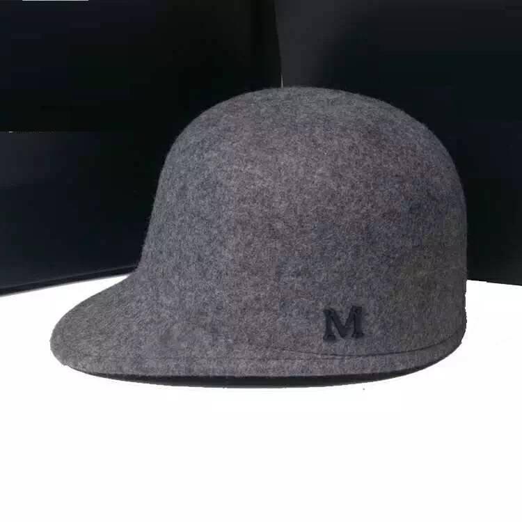 100% Wool Felt Baseball Cap in Melange Grey