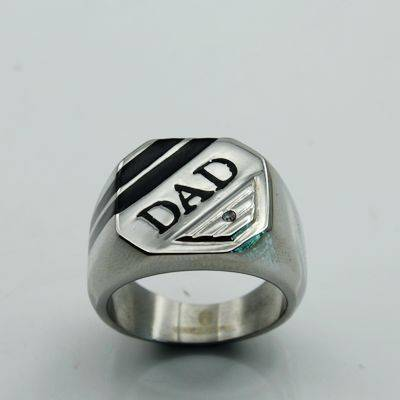 WHOLESALE Stainless Steel Ring DAD CZ Wedding Engagement Father Gift with diamond & black epoxy