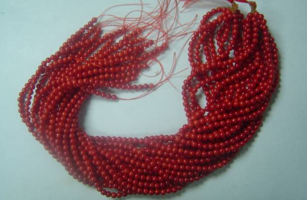 Red Coral Round Beads, 4mm