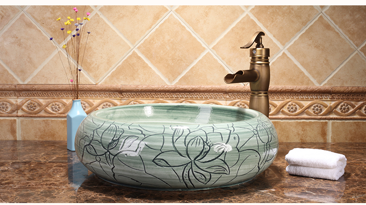 Modern Bathroom Round Bowl Above Counter Top Wash Hand Basin Sinks Luxury Porcelain Basin Sinks