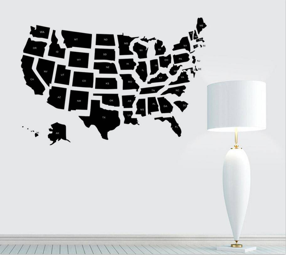 USA Map Wall Sticker United States of America Map Mural PVC Wall Art Sticker Closet Room Bedroom Ame