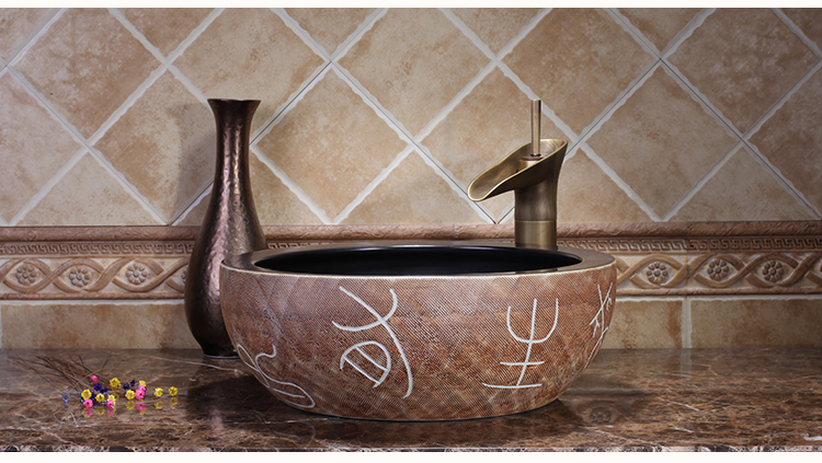 Restaurant Above Counter Top Washbowl Without Faucet Handmade Bathroom Ceramic Wash Basin Sinks