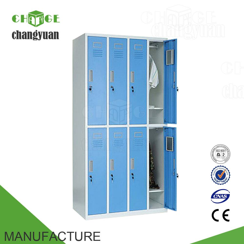 8  doors  steel  locker, metal  clothes  cabinet, stainless  steel  wardrobe