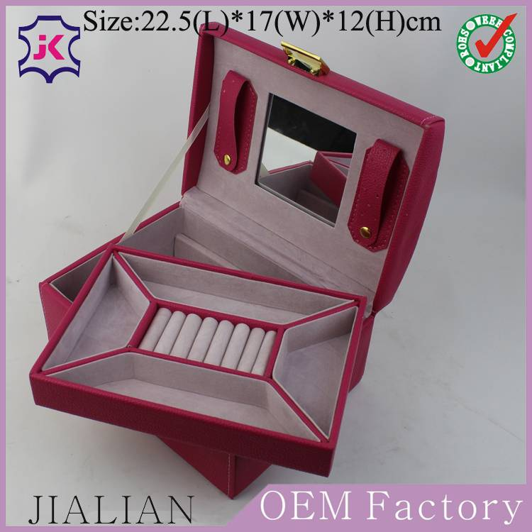 Factory customized high - grade two layers ring jewelry storage box