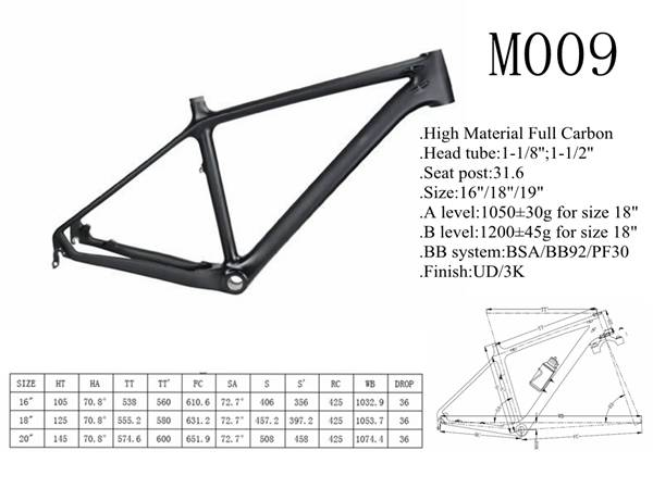 YD-M009 China full carbon fiber MTB frame ,mountain bike frame,monocoque frame