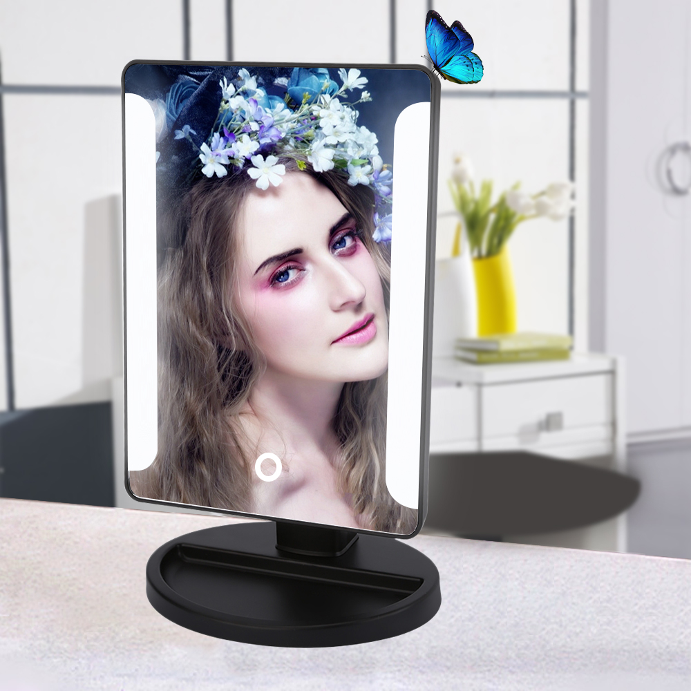 Rectangle Cosmetic Mirror 36 Led Travel Makeup Mirror with Smart Touch Sensor Button Dimmable