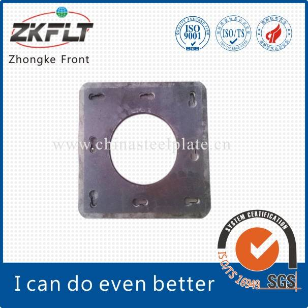 Square pipe pile end plate with ISO