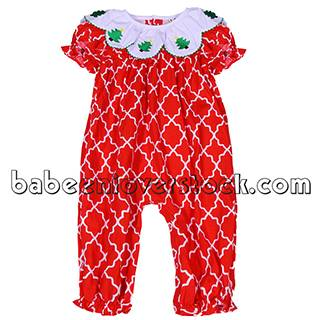 Adorable red lattice appliqued bubble for girls - BB846