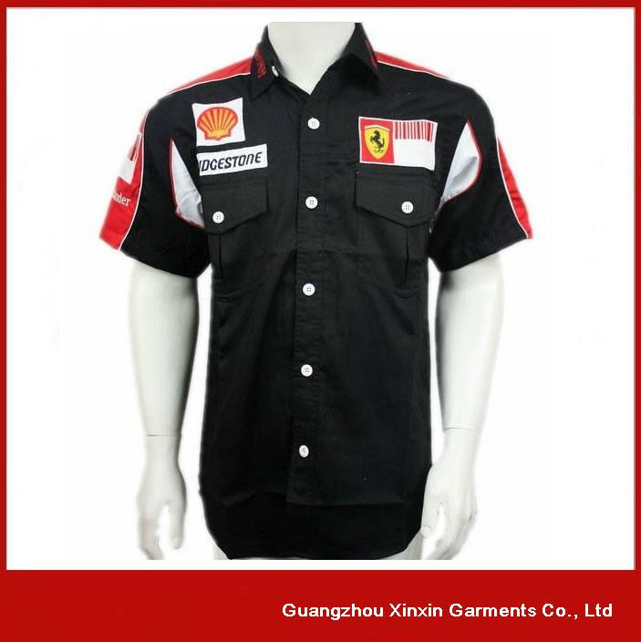 2016 New Design Custom Fully Button Down Motor Pit Crew Shirt