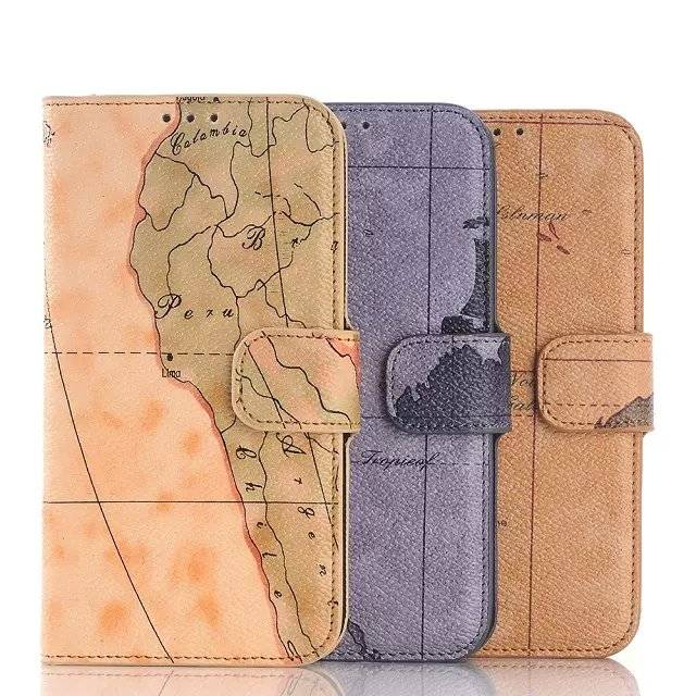 G9200 PU Leather Case For Samsung Galaxy S6 With Map Design Cover For S6