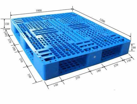 Single sided perforated plastic pallet with cross bottom 1200X1000X150mm