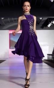 A-line One-shoulder Mini/Short Beading Asymmetrical Cocktail Dress