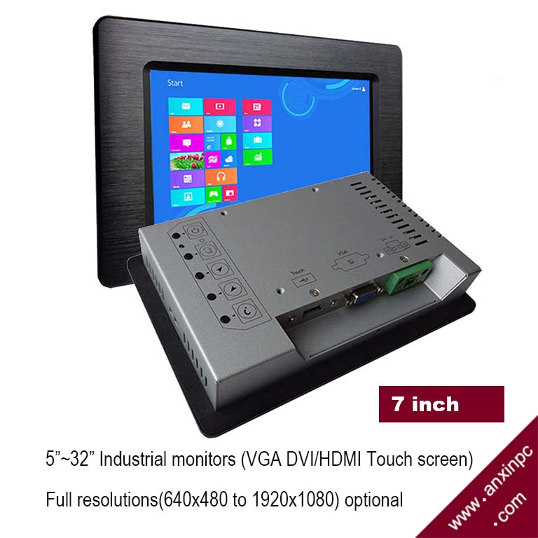 7 Inch LCD VGA Touch Screen Industrial Panel Monitor