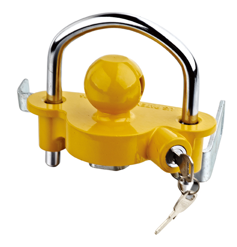Yellow trailer coupler lock