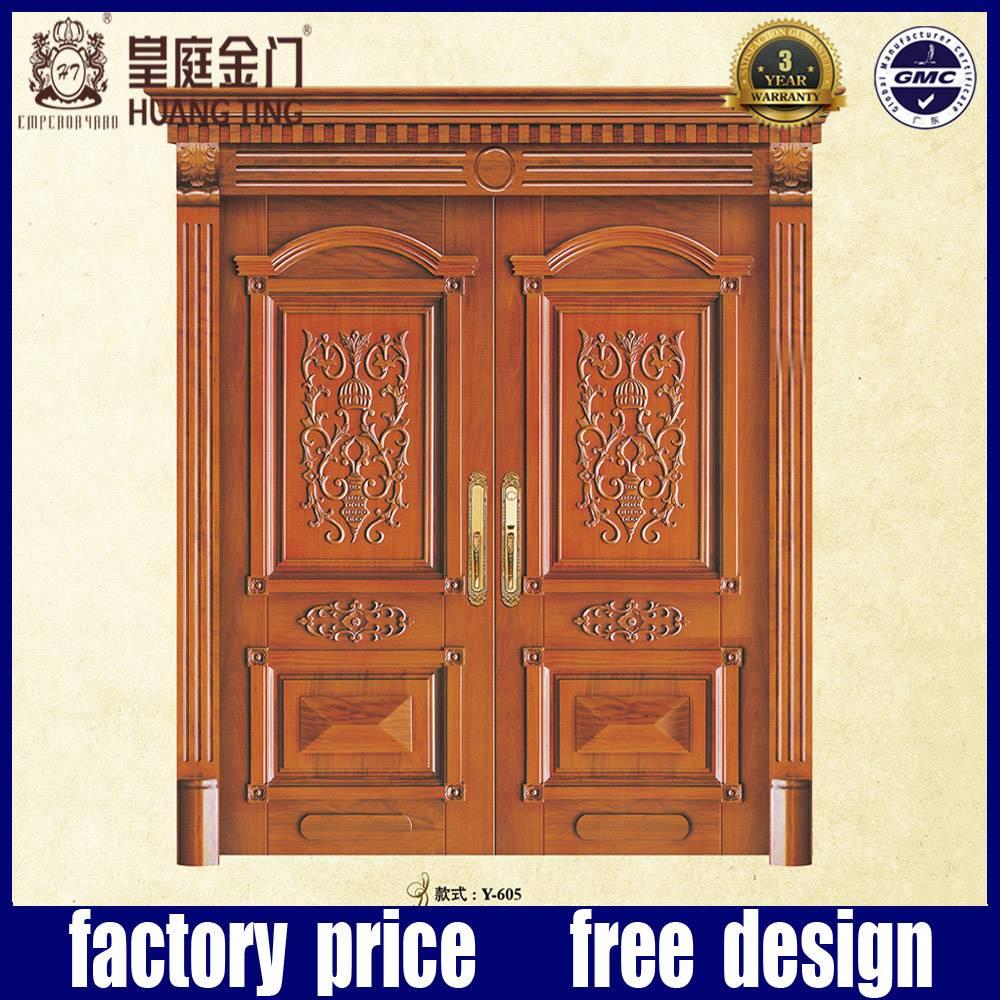 Solid  Oak Wood Main Double Front Entry Door