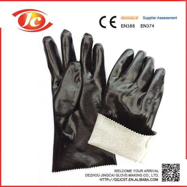 35cm black smooth fninished PVC working safety gloves