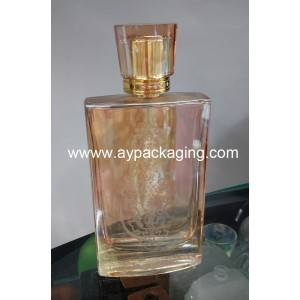 plating on polished glass perfumes bottle and crystal cover with PP insert with diamond
