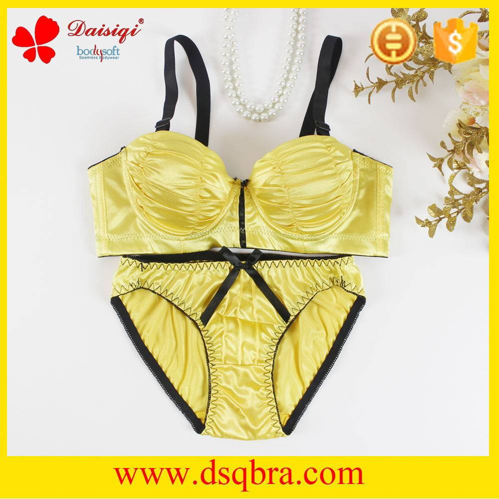 new arrival satin cloth smoothing fancy bra and panty set