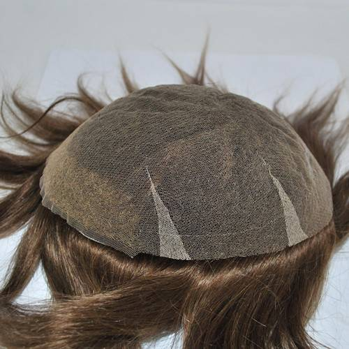 Swiss lace #4 Medium brown Hairpiece mens toupee hair replacement