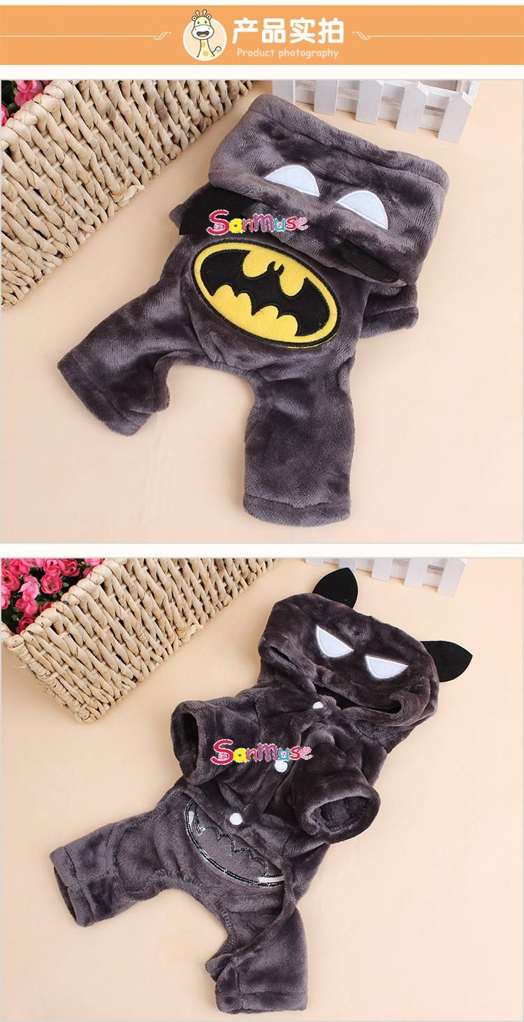 New Fashion Cartoon Dog Clothes Soft Cotton Puppy Coat Apparel Batman design