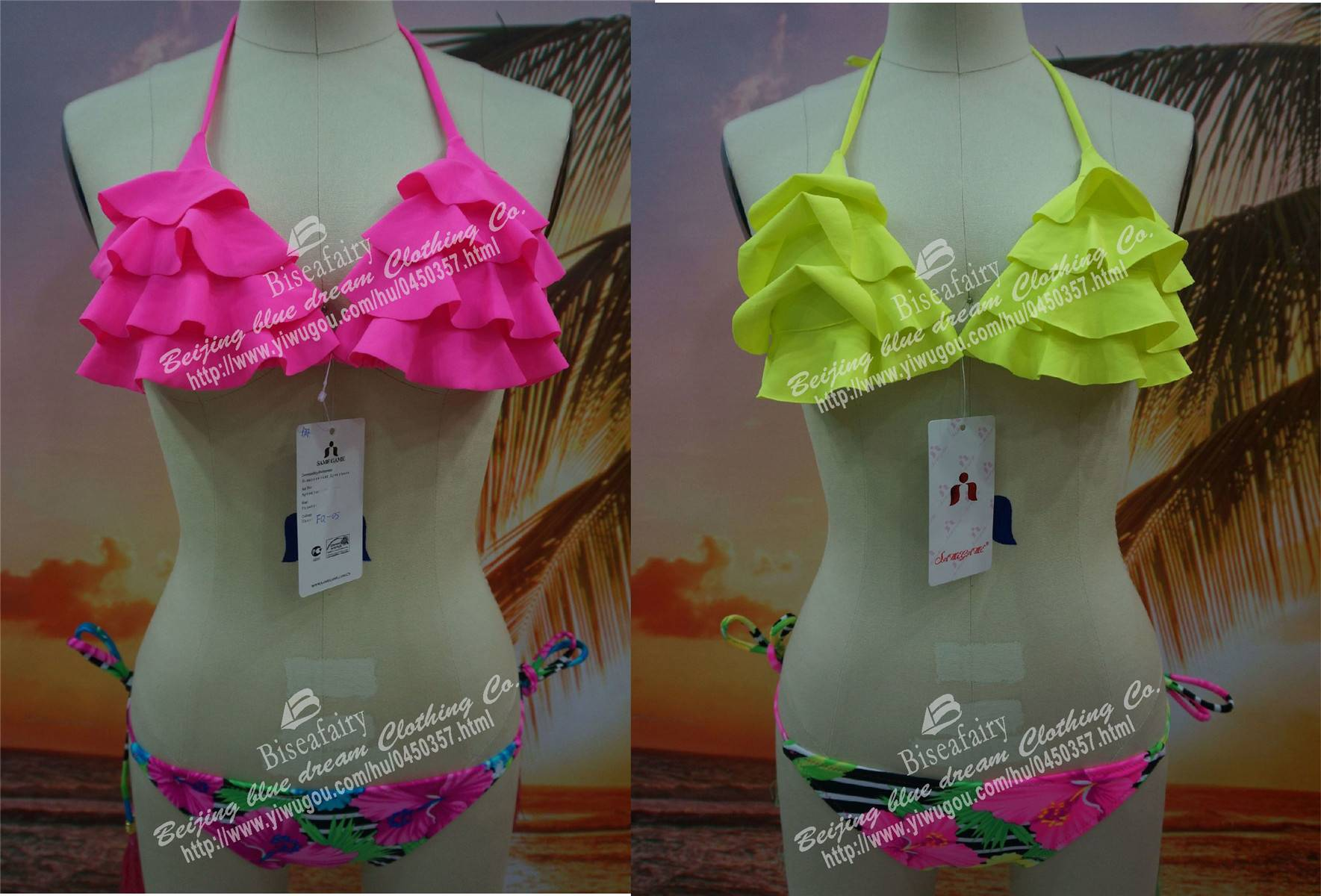 Lotus leaf lamination sexy female swimsuit