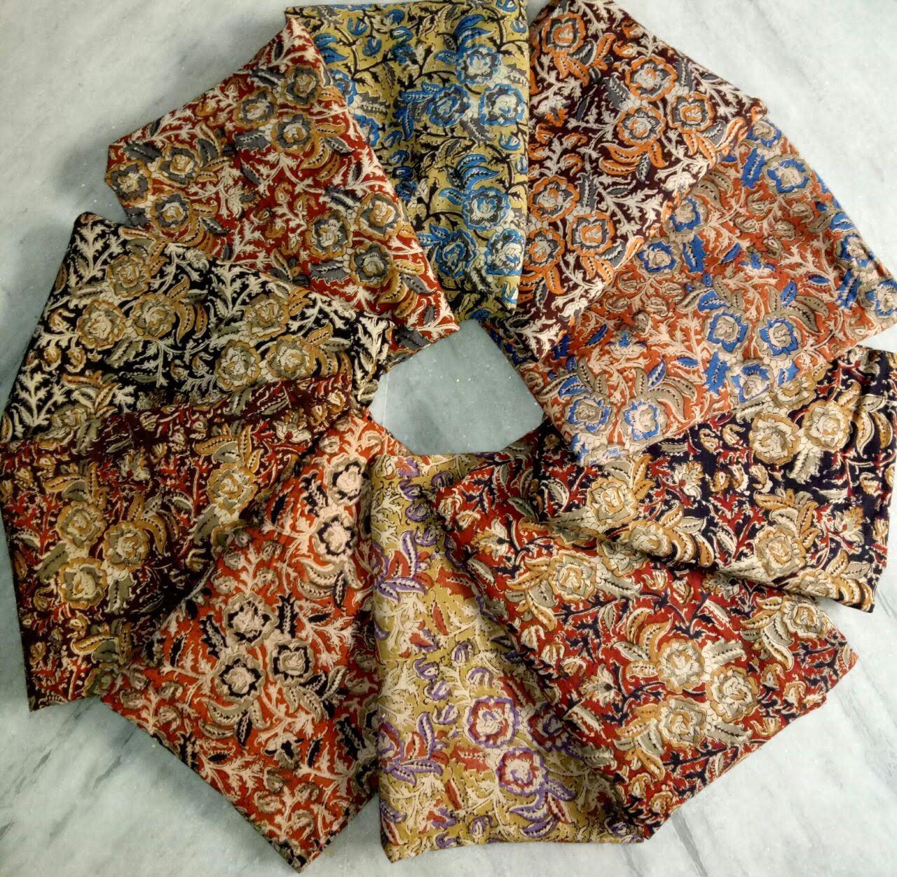 Kalamkari handblock Silk fabric