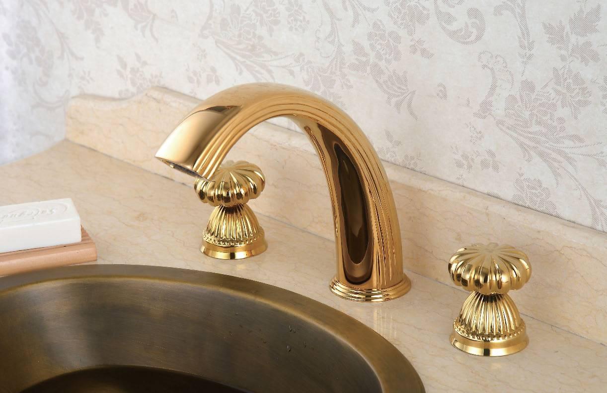 3 holes antique golden basin faucet