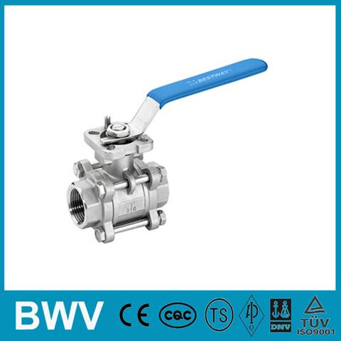 3PC Ball Valve Threaded Ends 1000WOG with ISO5211 Direct Mounting Pad