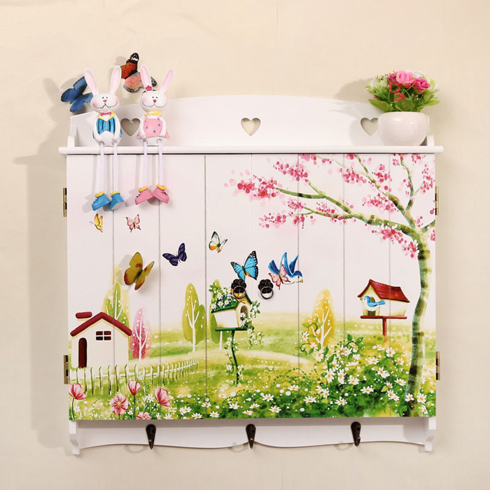 Faux window decoration butterfly print floating wooden shelves MB022