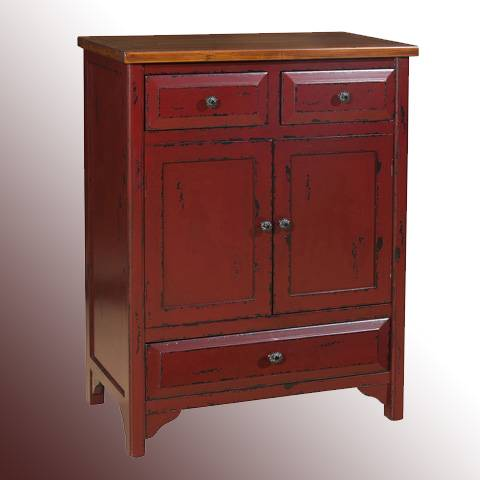 Red 3-Drawer Wood Antique Cabinet