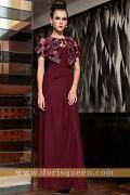 DORISQUEEN free shipping purplish red elegant long formal evening gowns with wraps 30830