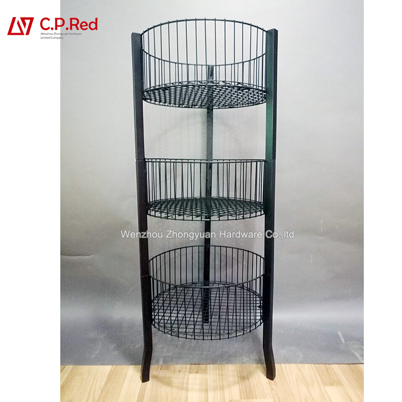 Hotsale Metal Retail Store Mesh Stand Hooks Basket Grid Wire Metal Display Rack stand for grocery