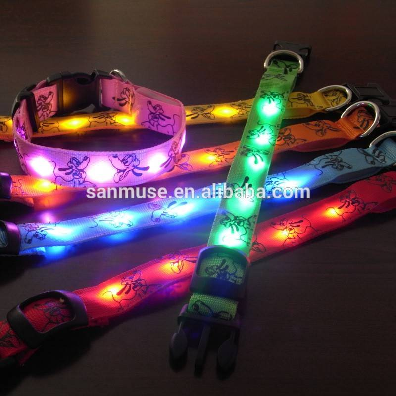 Doggie Brutto flashing Safety Pluto pattern Pet Dog Small-Scale LED Nylon Light up adjustable Glow c