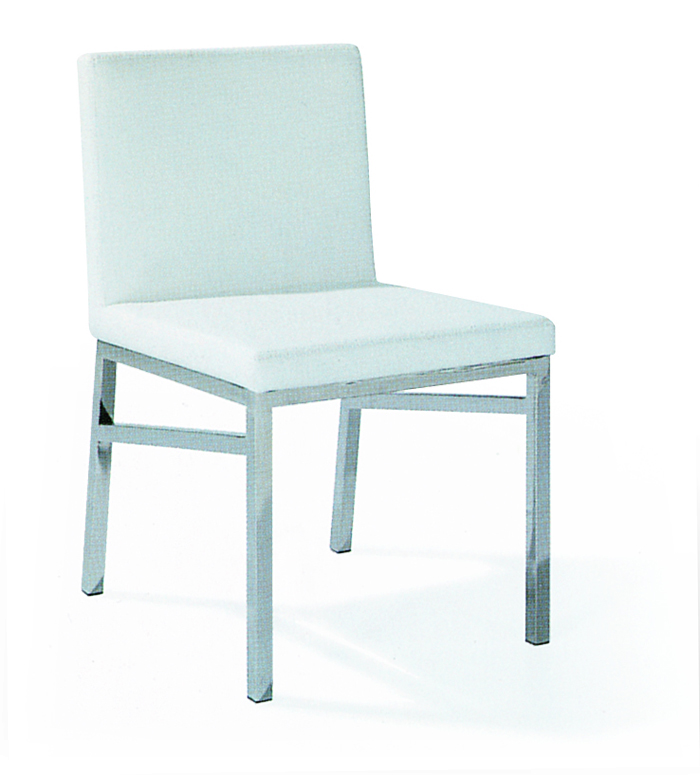 SHIMING FURNITURE MS-3602 White seated stainless steel foot dinning chair