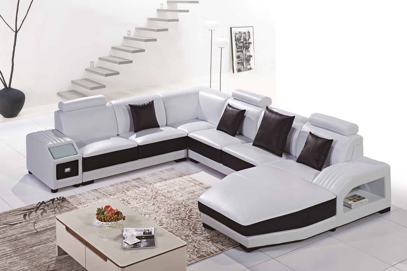 White and Black Living Room Furniture Corner Sofa