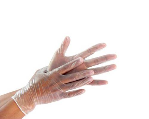 AQL 1.5 Clear disposable vinyl gloves power free