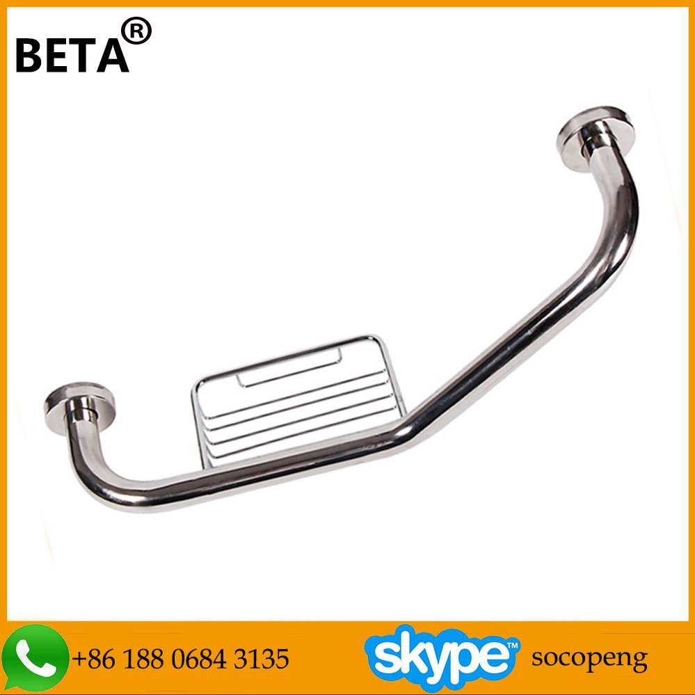 Bathroom stainless steel handrail,shower room grab bar with soap basket