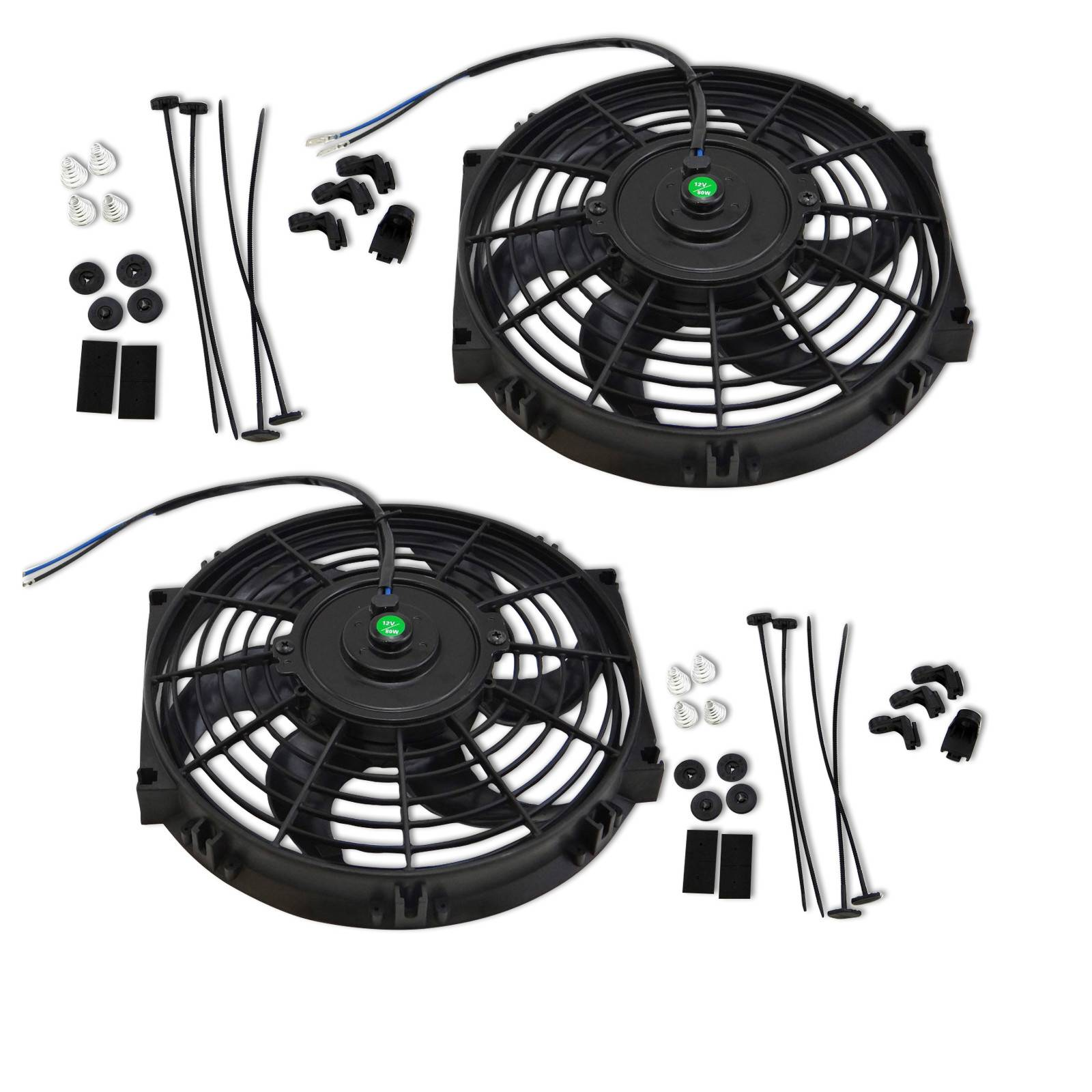 "10"" UNIVERSAL Condenser/Radiator auto BLACK HORSE Cooling Fan 12V 80w 1570 CFM"