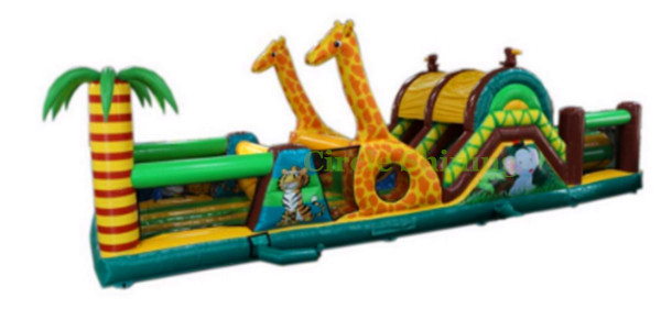 Inflatable giraffe obstacle course