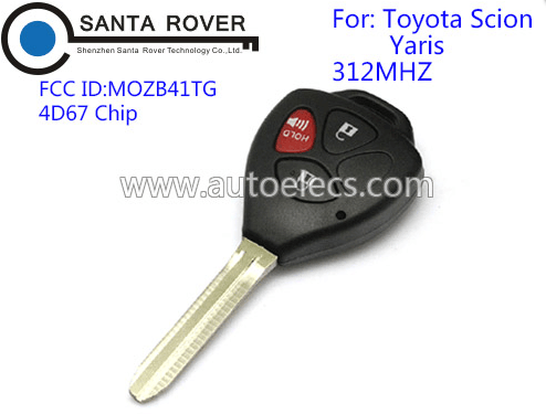 Toyota MOZB41TG Scion Yaris Remote car Key For 3 Button 312Mhz 4D67 Chip