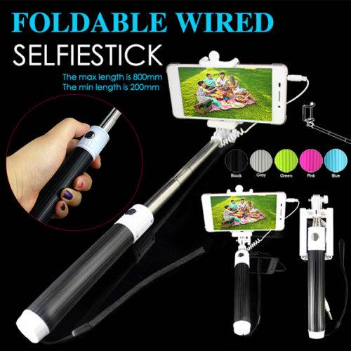 Mini Foldable Wired Cable Take Pole Self Stick Monopod Selfie Telescope for iPhone IOS Android SSM01