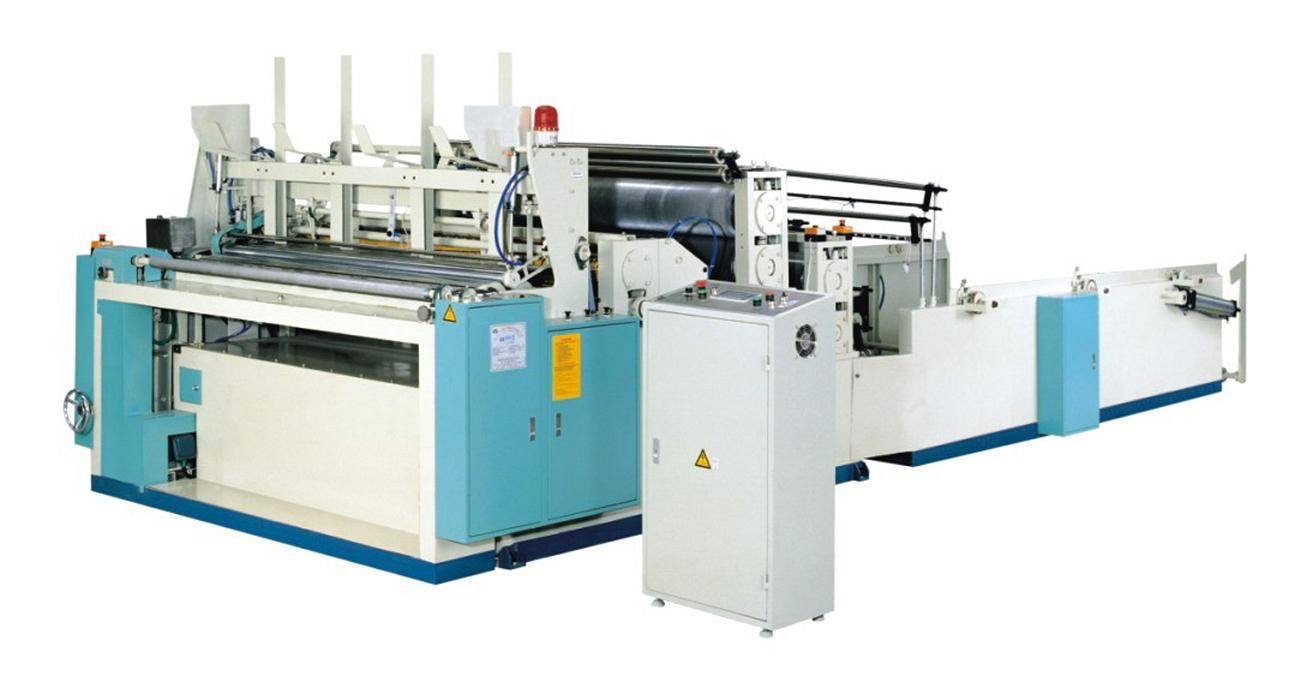Tissue rewinding perforating machine