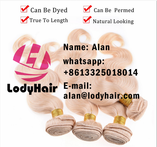 Lody hair products bleached Blonde color #613 platinum blonde Body Wave, Brazilian Virgin Human
