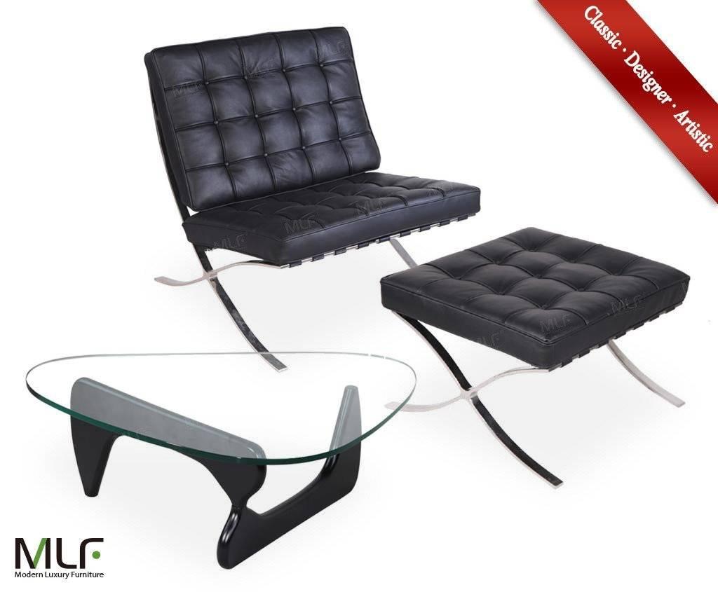 MLF® black italian Barcelona Chair & Ottoman +Black Birch Wood Isamu Noguchi Table