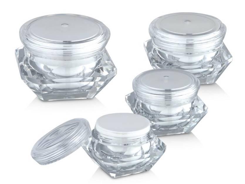 Luxury Diamond Shaped Acrylic Cream Jars for Cosmetic Packaging